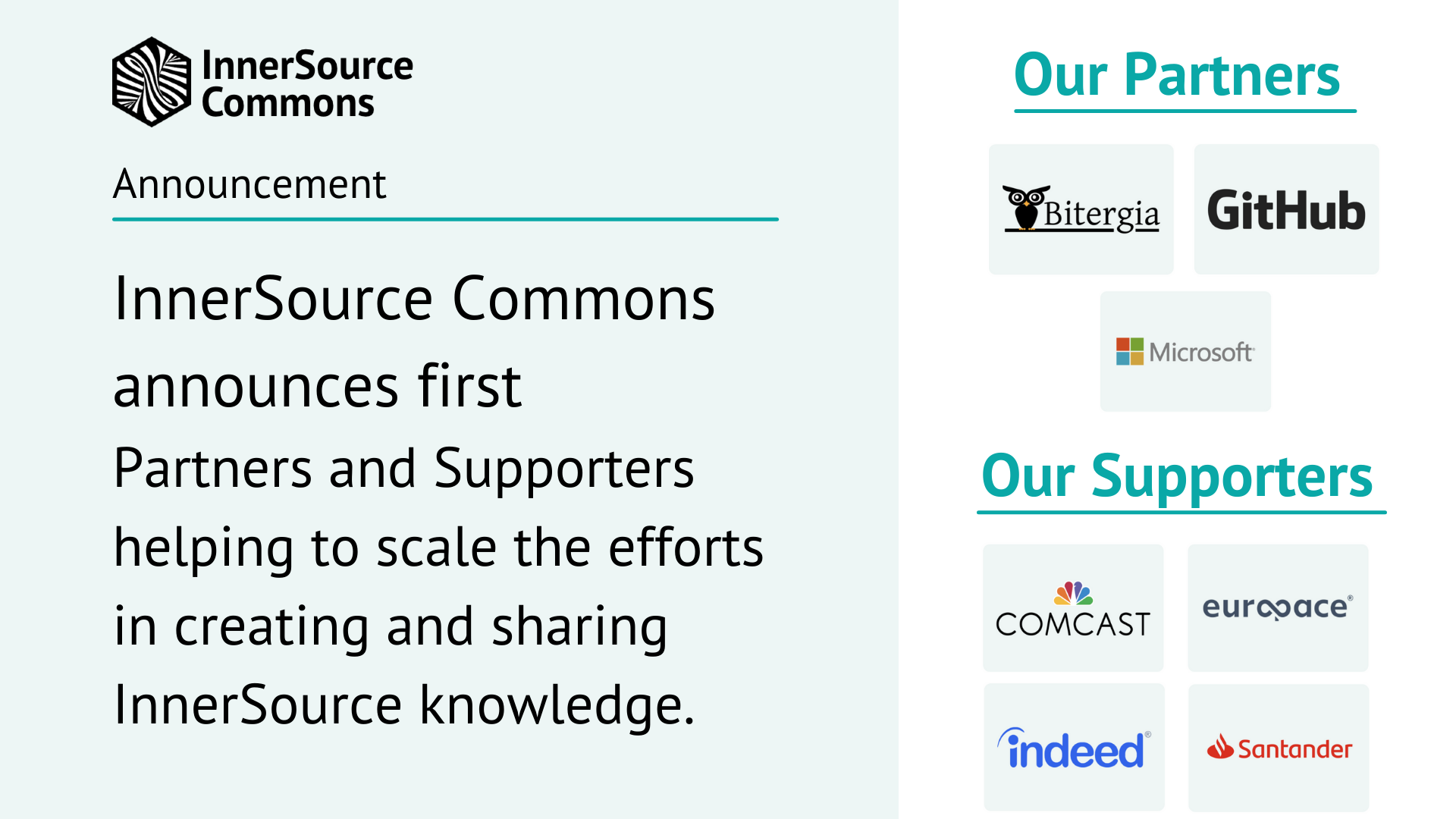 InnerSource Commons announces first Partners and Supporters helping to scale the efforts in creating and sharing InnerSource knowledge
